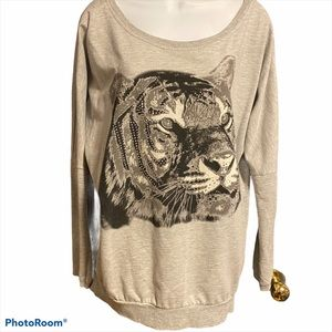 Only Lightweight Crew Neck Bling Tiger Print